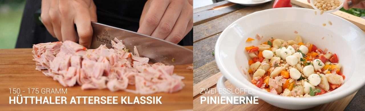 Hütthaler kocht einen mediterranen Gnocchi-Salat mit der Attersee-Wurst