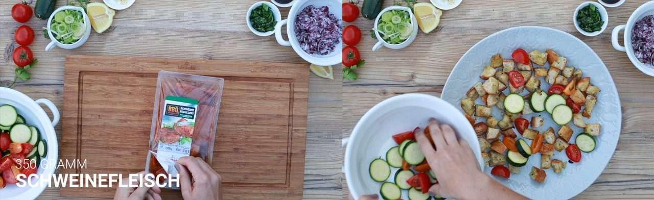 Huetthaler Rezept panzanella mit schweinemedaillons