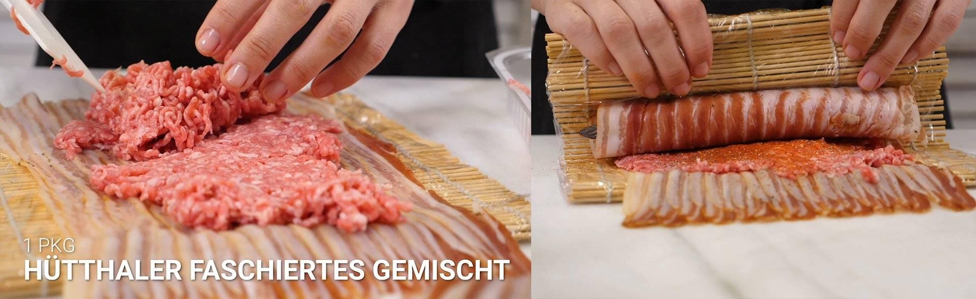 Hütthaler Bacon Sushi mit Faschiertem und Spargel