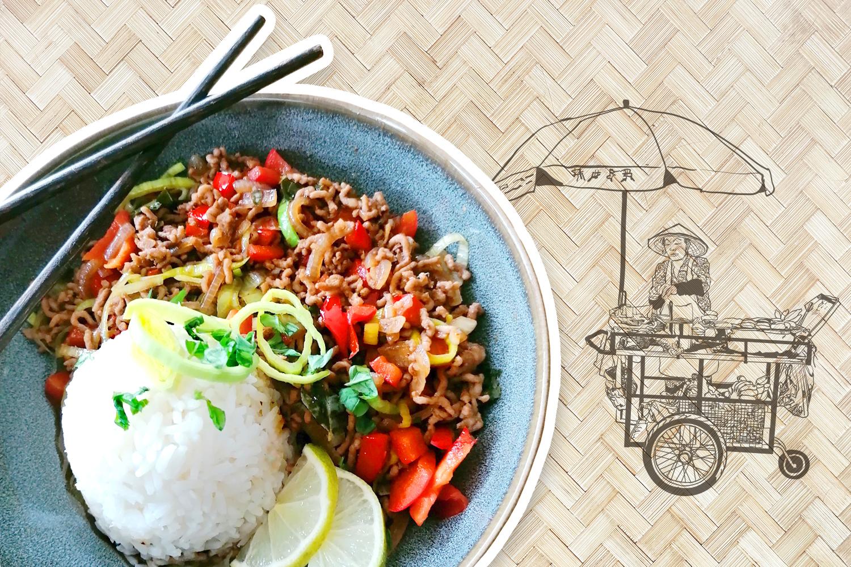 Kulinarische Reise nach Thailand Gebratenes Faschiertes
