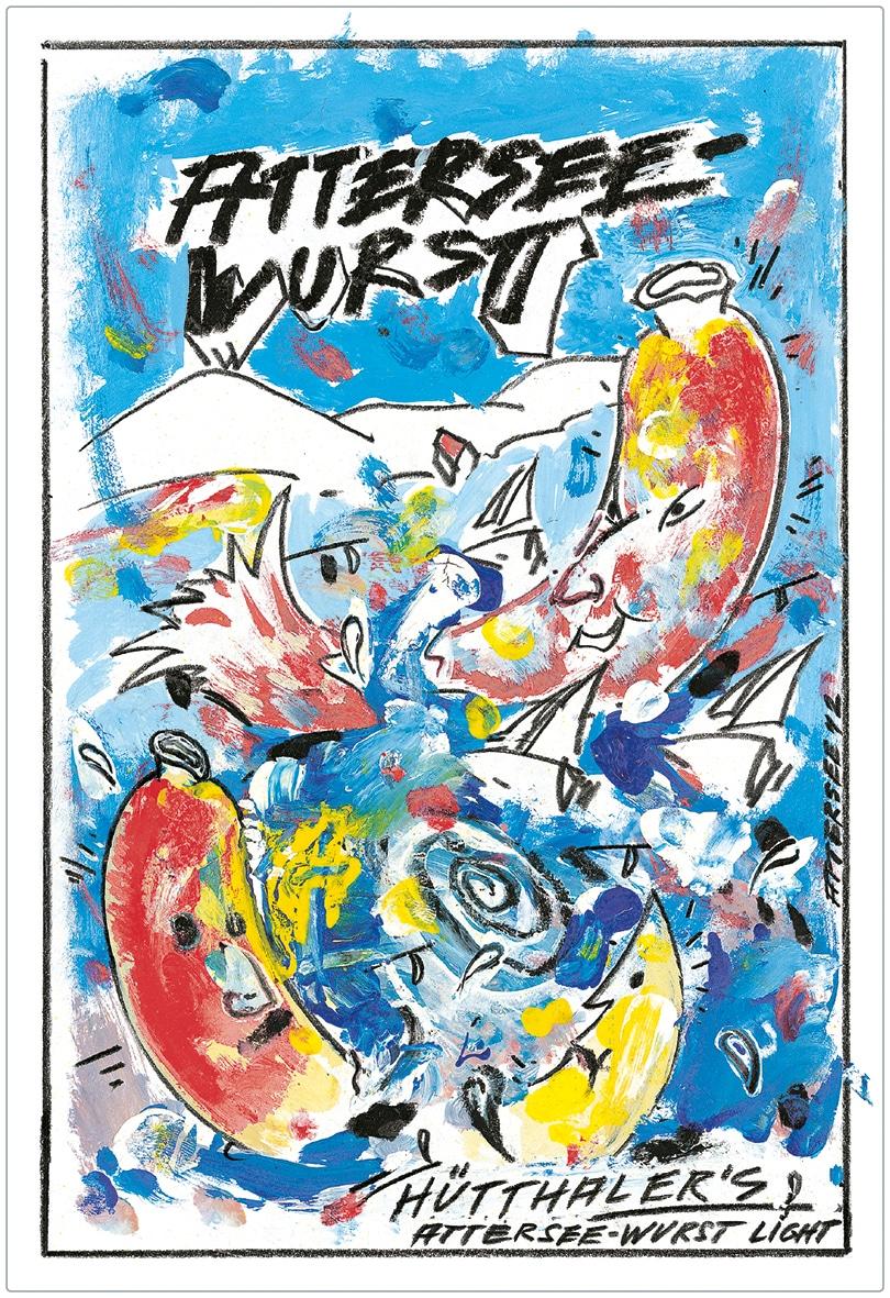 Hütthaler's Attersee-Wurst Etikett vom Künstler Ludwig Attersee
